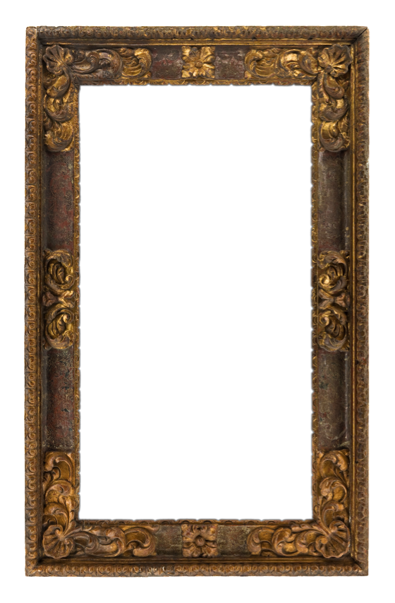 In this 17th century Italian frame, red clay is visible through the finish.