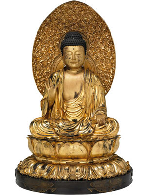 Figure of the Buddha Amida seated on a lotus pedestal, made of lacquered and gilded wood.From Dairenji Temple, Osaka, Japan, mid 18th century. (image courtesy of The British Museum)