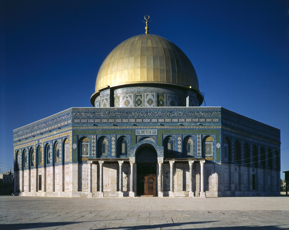 The Dome of the Rock is embellished in mosaic patterns and gold. When the dome was refurbished in 1993, 80 kilograms of gold were required to complete the project. (image courtesy of The Metropolitan Museum of Art)