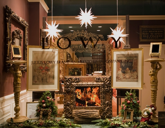 The entrance to Lowy's showroom, decked out in holiday finery