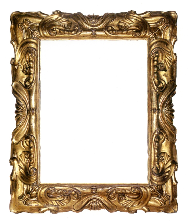 This Italian carved and gilt mannerist frame of reverse profile in the auricular style features stylized shell motifs at centers surrounded by deeply sculptued scrolls and volutes.