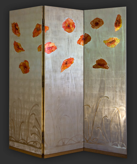 "Janine Lambers, Screen with Poppies, 57"" x 64 3/8"""
