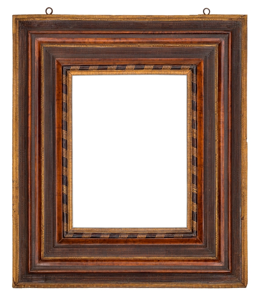Parcel-gilt Dutch carved frame of reverse profile with veneered panels, various rows of ripple and basketweave moldings