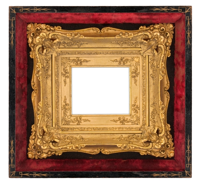American gilt Rococo-style composition frame with extended scrolling foliate corners on panels textured with netting in a velvet-lined black shadow box exhibiting incised corners