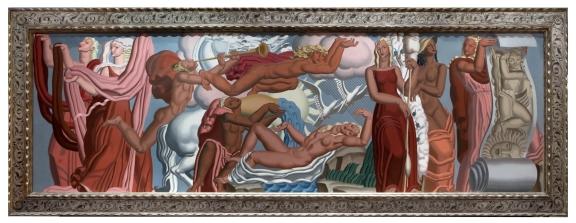 """Jean Dupas' Allegorie de Tissu in a custom Lowy frame, 40"""" x 129"""""""