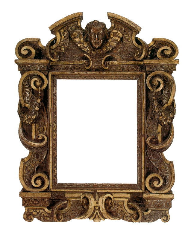 A 17th-century Italian carved, gilt and walnut Sansovino frame, ornamented with scrolls, volutes and floral swag, with broken pediment surrounding the winged cherub head at top.