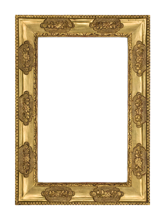"""A rare carved and gilt frame by Charles Prendergast with ogee profile and intermittently spaced floral carvings alternating with plain burnished """"mirror"""" panels in the Venetian style, with punchwork around the floral carvings"""