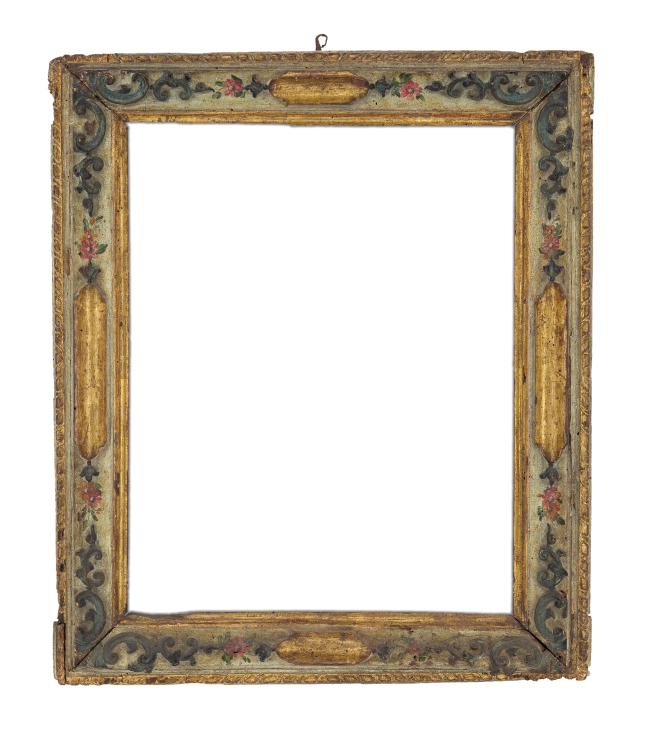 18th-century Venetian carved, gilt and polychrome frame