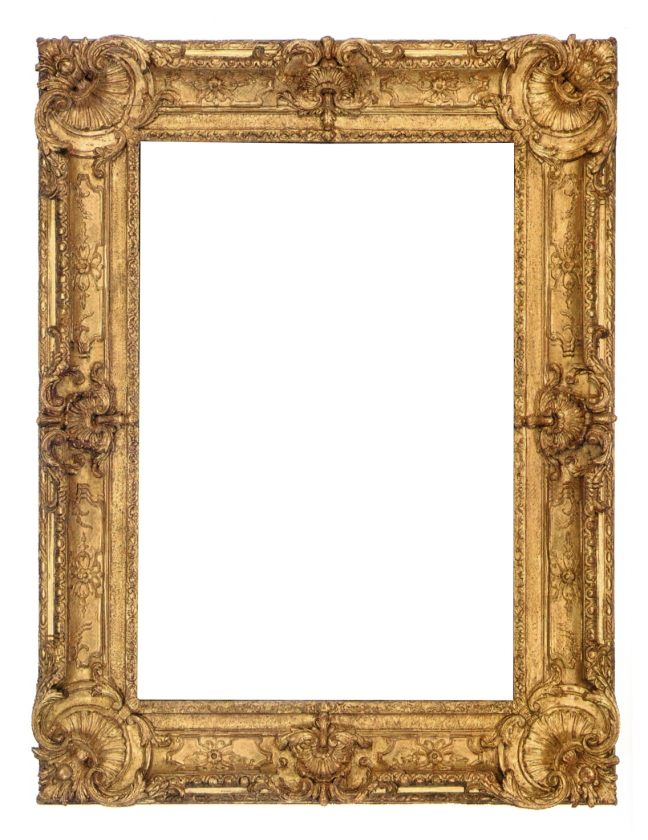 18th-century Régence carved and gilt frame with elaborate pierced corner and center cartouches, rosette demi-centers on finely crosshatched panels and foliate slight edge