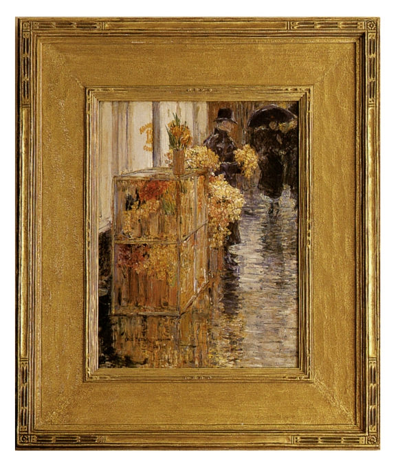 Childe Hassam, The Flower Seller, oil on board, in a carved giltwood frame made by Carrig-Rohane in the early 20th century