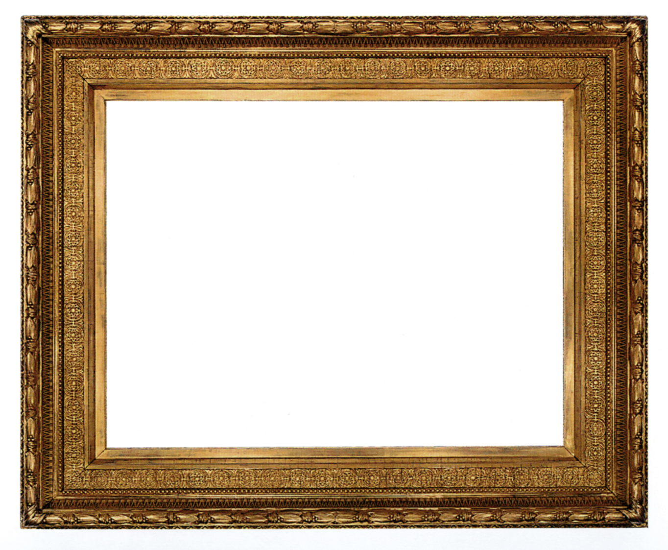 an american gilt composition frame with continuous moorish decorative