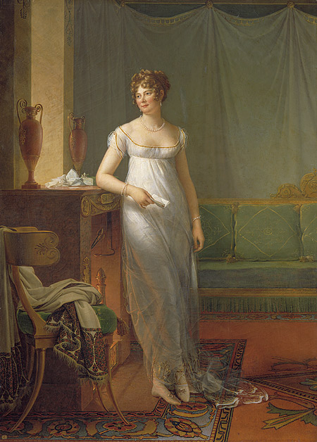 Baron Gérard's portrait of Madame Charles-Maurice de Talleyrand-Périgord, later Princesse de Bénévent, painted in 1908, reflects the Empire style with the use of objects in the painting (image courtesy of metmuseum.org)