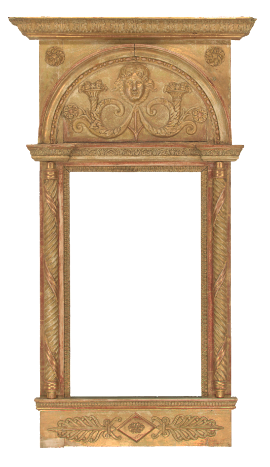 Swedish Empire frame with reeded columns, carved portrait and reed and rosette ornaments