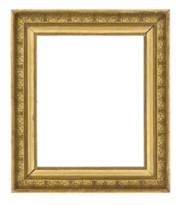 19th-century French Empire continuous cove frame with leaf ornament, front bead divider and flat interior panel