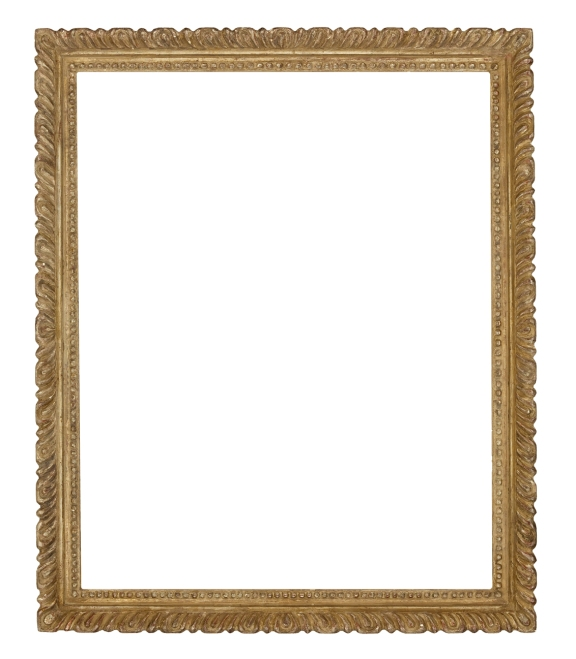 Mid-20th century American carved and silver leafed frame with continuous gadroon ornament by Bumpei Usui