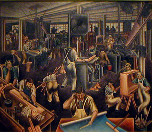 Bumpei Usui, The Furniture Factory, Oil on Canvas (image courtesy of 511 Gallery)