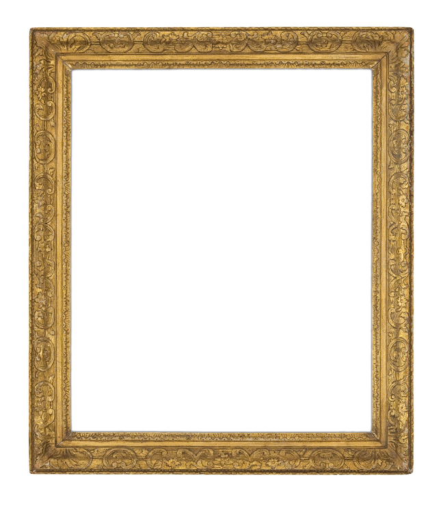 A mid-18th-century English carved and gilded Louis XIV-style frame with continuously carved scrolls and floral sprigs (4746)