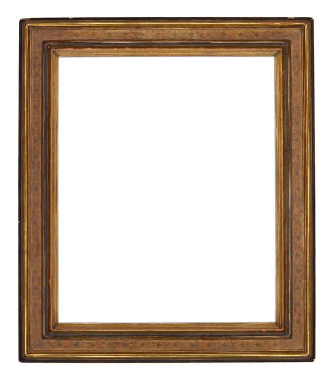 An early 20th-century gilded American cassetta frame of reverse profile with stenciled design on a painted panel by the Newcomb-Macklin Company (6094)